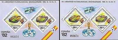 HUNGARY 1982 WORLD FOOTBALL CUP perf/imperf x2 S/S MNH SPORTS