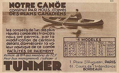 Y8775 Canoe Canadiens TUNMER - Pubblicità d'epoca - 1931 Old advertising