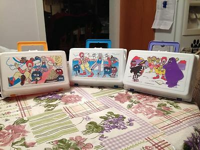 Vintage 1987 Plastic McDonalds Happy Meal Lunchbox Nostalgic Very Rare Set of 3