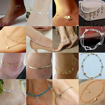 Silver Bead Chain Anklet Ankle Bracelet Barefoot Sandal Beach Foot Jewelry Women