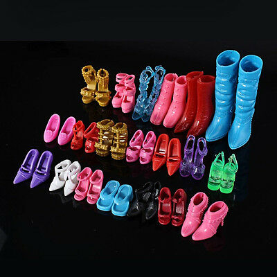 Mix 24pcs/12Pairs Shoes Boots for Barbie Doll Toy Girls Play House Gift Random
