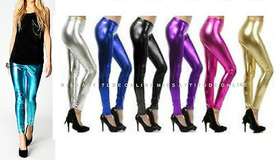 Womens Ladies American Foil Shiny leggings Disco Dance Stretch PVC  Wet Look 80s