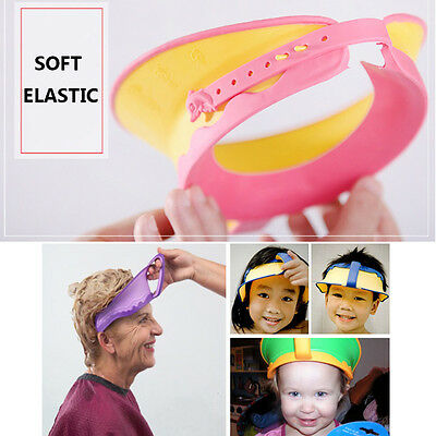 AU Adjustable Elastic Baby Shower Cap Children Shampoo Bath Wash Hair Shield Hat