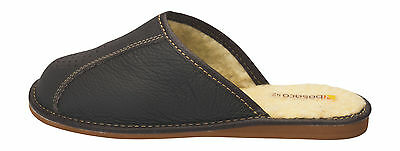 Mens comfort house slippers Natural Leather 100% Wool Lining Slip on Shoes
