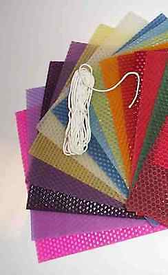 Candle Making Kit -  coloured beeswax for rolled candle bees wax & wick