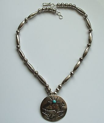 Vintage Navajo Silver & Turquoise Roadrunner Pendant & Handmade Bead Necklace