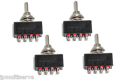 Lot of 4 ON/ON 4PDT Miniature Toggle Switch Four Pole Double Throw