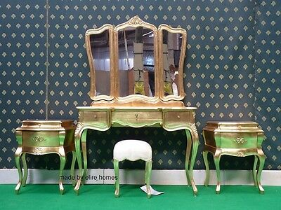 Gold Leaf Five piece Rococo bed french wood set Dressing table bedsides