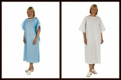 NHS Hospital Patient Gown Dress, UNISEX Universal Wrap around style White/Blue