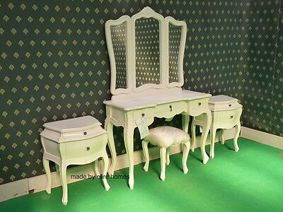 Ivory Five piece Rococo bed french wood set Dressing table bedsides