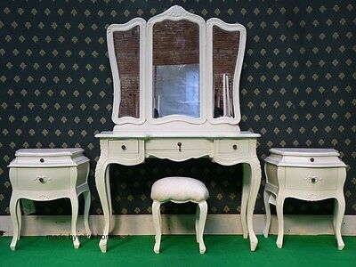White Five piece Rococo bed french wood set Dressing table bedsides
