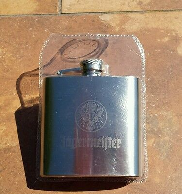 New Jagermeister Stainless Steel 6 oz. Flask Bar Liquor Sealed