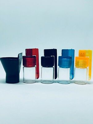 4X Small Snuff Bottle with Folding Lid Spoon and Funnel