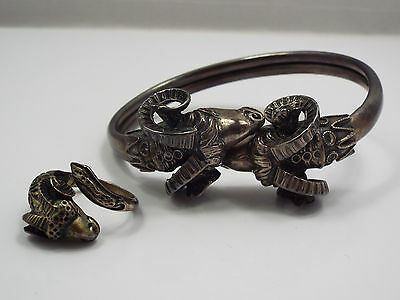 Antique Sterling Silver Ram Sheep Bypass Bracelet & Ring Set