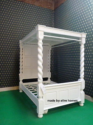 """BESPOKE Double 4'6""""  WHITE four poster Tudor canopy bed carved mahogany wood"""