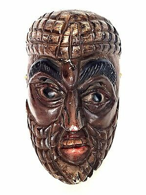 LATIN AMERICAN Dance Mask Guatemala Mexican Carved Painted Wood Ceremonial