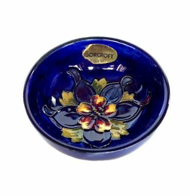 MOORCROFT Columbine Walter Blue Footed Bowl Made in England w/ ORIGINAL Sticker