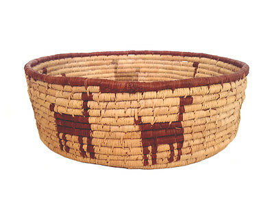 SOUTH WESTERN Style Replica Woven Basket w/ Animal Design
