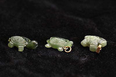 3 Collectible Carved Stone Turtles - Jade Necklace or Bracelet Charm