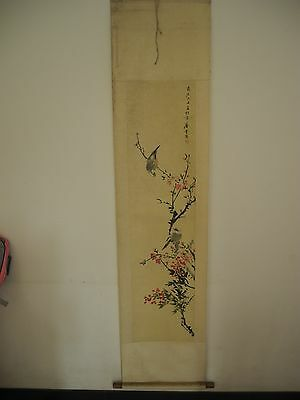 old Chinese Scroll Painting By Tang Yun :flower and bird T18