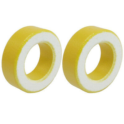 B3 2 Pcs 33mm x 19mm x 11mm Yellow White Iron Core Ferrite Rings Toroid