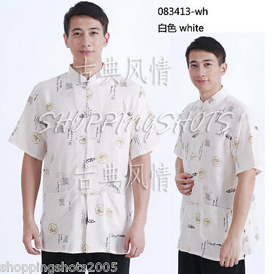 chinese shirt clothing clothes for men jacket 083413 white size M-XXL in stock