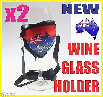 2x Wine Glass Cooler Insulator Holder with Lanyard AUSTRALIA Souvenir
