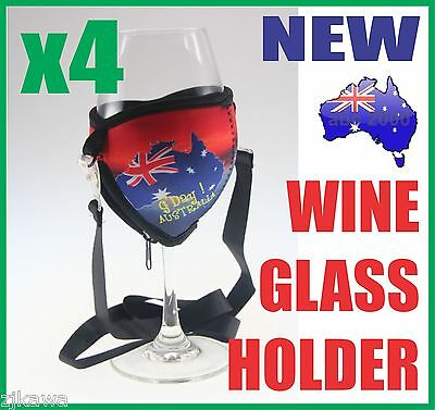 4x Wine Glass Cooler Insulator Holder with Lanyard AUSTRALIA Souvenir