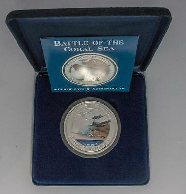 2002 Cook Islands Battle of Coral Sea 10 oz Coloured Silver Proof Coin