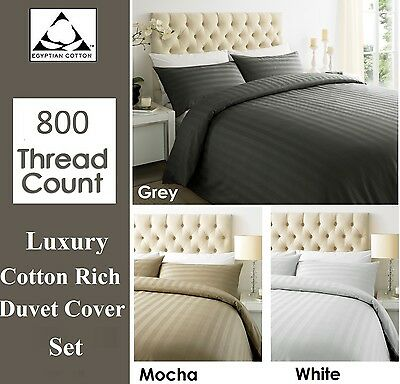 Luxury 800 Thread Count Satin Stripe Duvet Cover Pillow Case Set Double King