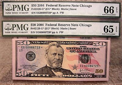2x 2004 ***STAR*** $50 Consecutive numbered EG * PMG 65-66 EPQ Low Serial number