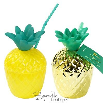 Tropical PINEAPPLE CUPS -Plastic Cup & Straw- Tropical Summer BBQ/Party/Cocktail