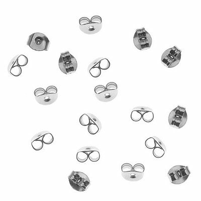 B3 100-Piece Surgical Steel Earring Backs Medium Sliver