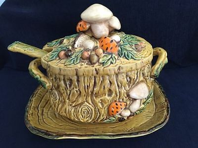 Vintage Soup Tureen With Ladle And Tray 1970