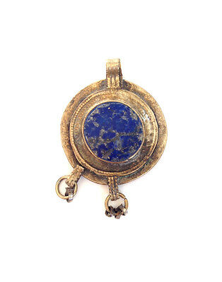 TURKOMAN Lapis Lazuli Gold Wash Music Belly Dancer Pendant Middle Eastern