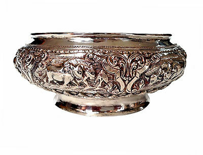 CAMBODIAN Burmese Thai Hand Repousse Sterling Silver Bowl Elephants Ox