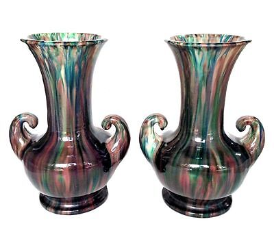 RARE AWAJI Art Deco Japanese 'Muscle' Vases Pair Drip Glaze Iridescence Japan