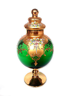 BOHEMIAN Czech Moser Style Green Applied Floral Gold LARGE Apothecary Candy Jar