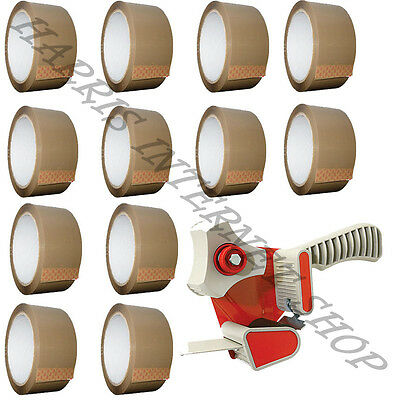 Bundle Of 1 Parcel Packaging Tape Dispenser Gun + 12 Rolls Of Brown Packing Tape