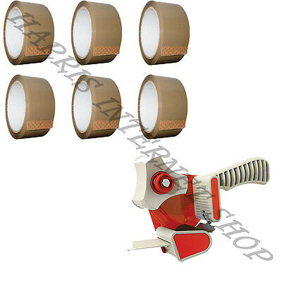 Bundle Of 1 Parcel Packaging Tape Dispenser Gun + 6 Rolls Of Brown Packing Tape