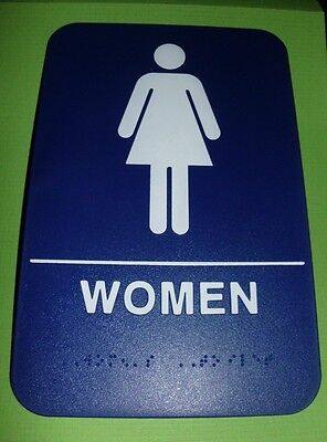 Ada Restroom Sign Women Only  Braille Blue Public Bathroom