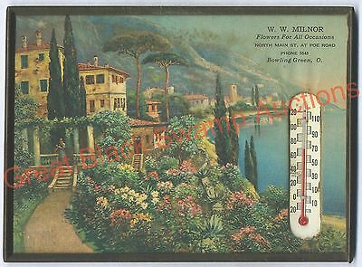 W. W. Milnor Flowers framed Advertising Thermometer (Bowling Green, Ohio)