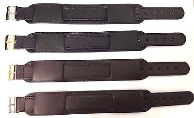 Military Leather Black & Brown Watch Strap 18mm