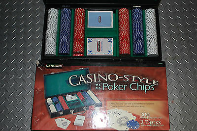 CASINO STYLE POKER CHIPS with LEATHER CARRY CASE and CHROME HARDWARE New Harvard