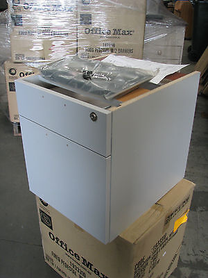 Fixed Pedestal With Two 2 Drawers Under Desk Lockable Filing Grey