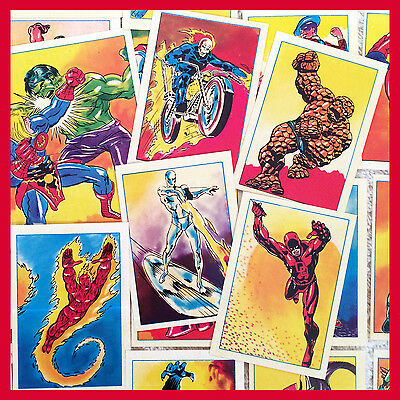 Lot of 93 MARVEL SUPER HERO French STICKER CARDS 1980 Unused FANTASTIC FOUR+