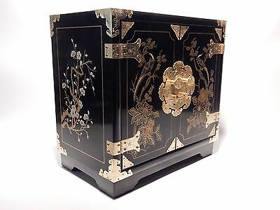Chinese Hand Painted  Black Lacquer Asian Jewelry Box Chest