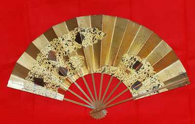 """Japanese Folding Fan """"Geometric design in the gold leaves background"""" #1196"""