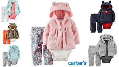 Baby Cardigan Sets Carters 6 - 24 Mths, 3 Piece Hoodie Set 6 Designs NEW