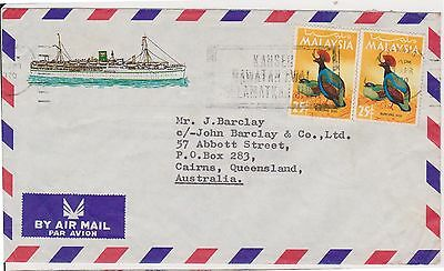 (OW-109) 1970 Malaysia/china 50c ships letter from MS KUALA LUMPUR to QLD (B)